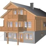 деревянный дом olos214а 3d